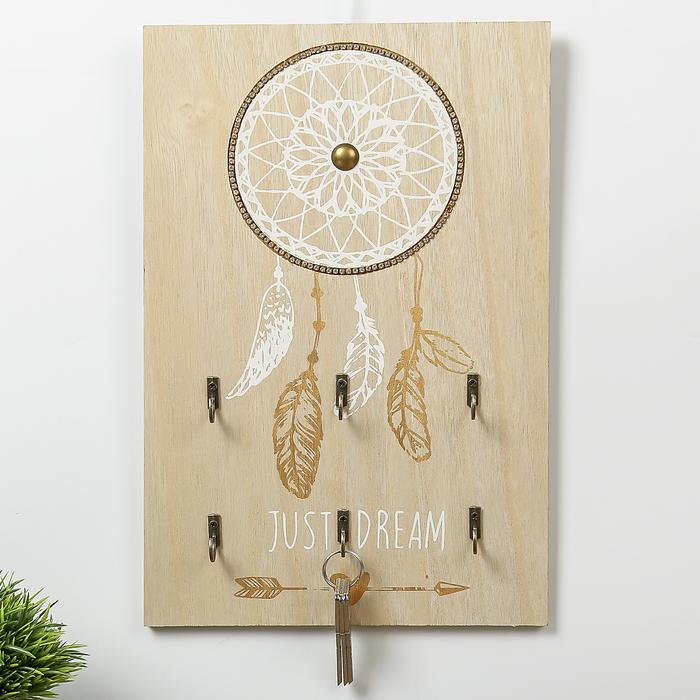 "Крючки декоративные дерево ""Ловец снов белый с золотом"" 35х23х3 см"