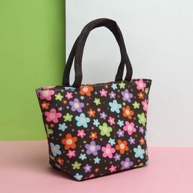 Косметичка сумка «Цветы», отдел на молнии, цвет чёрный Ош
