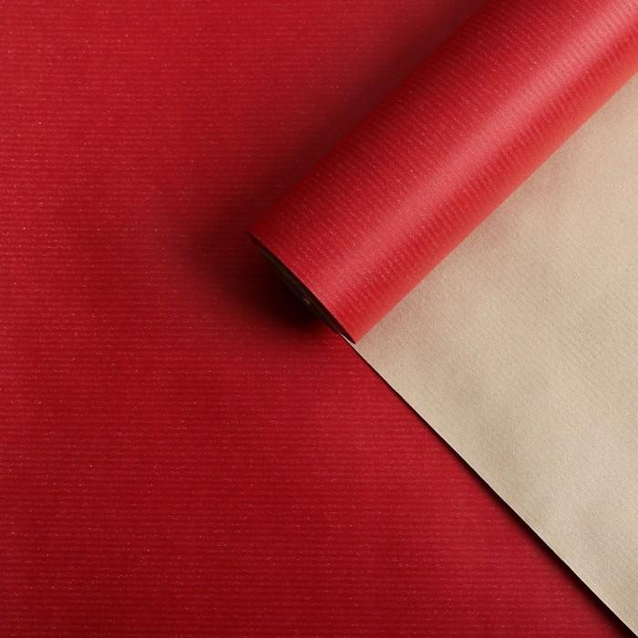 Бумага для декорирования крафт, двусторонняя, красно-золотой, 0,8 х 10 м