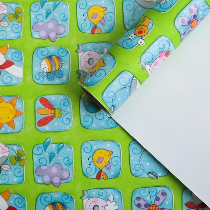 """Бумага для декорирования, """"Весёлые зверята"""", зелёная, 0,7 х 10 м"""