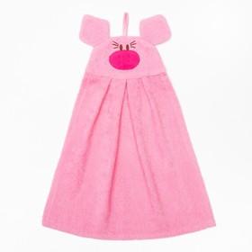 """Полотенце-рушник махровый """"Хрюша"""", 43×35 см, розовый, хл100%, 300 г/м²"""