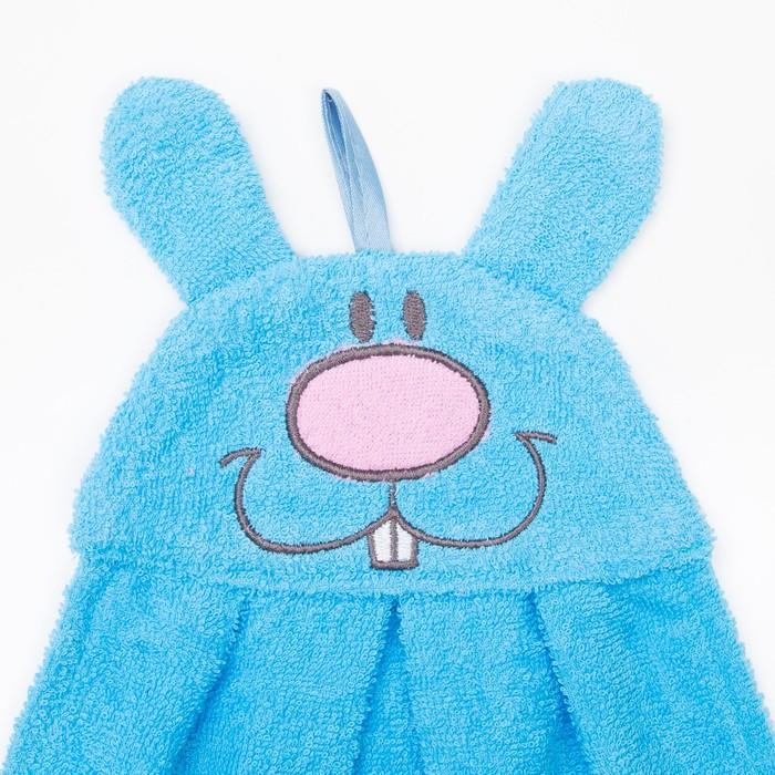 """Полотенце-рушник махровый """"Зайчик"""", 43×35 см, голубой, хл100%, 300 г/м²"""