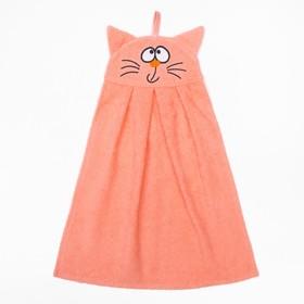 """Полотенце-рушник махровый """"Котик"""", 43×35 см, персик, хл100%, 300 г/м²"""