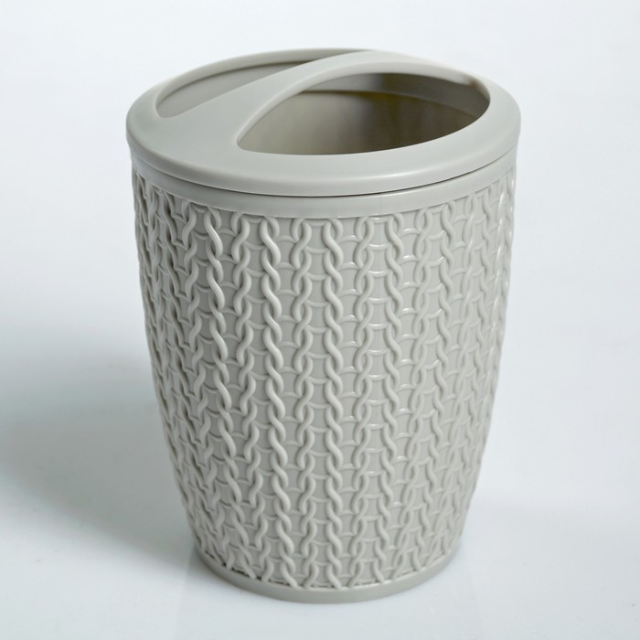 "Подставка для зубных щёток ""Вязаное плетение"", цвет светло-серый"