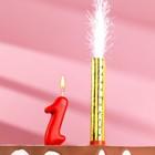 """Свеча для торта цифра """"Овал"""" красная """"1"""" + фонтан"""