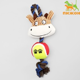"""Игрушка для собак 3-в-1 """"Корова"""": канатная, мягкая с пищалкой, войлочный мяч, 30 см"""