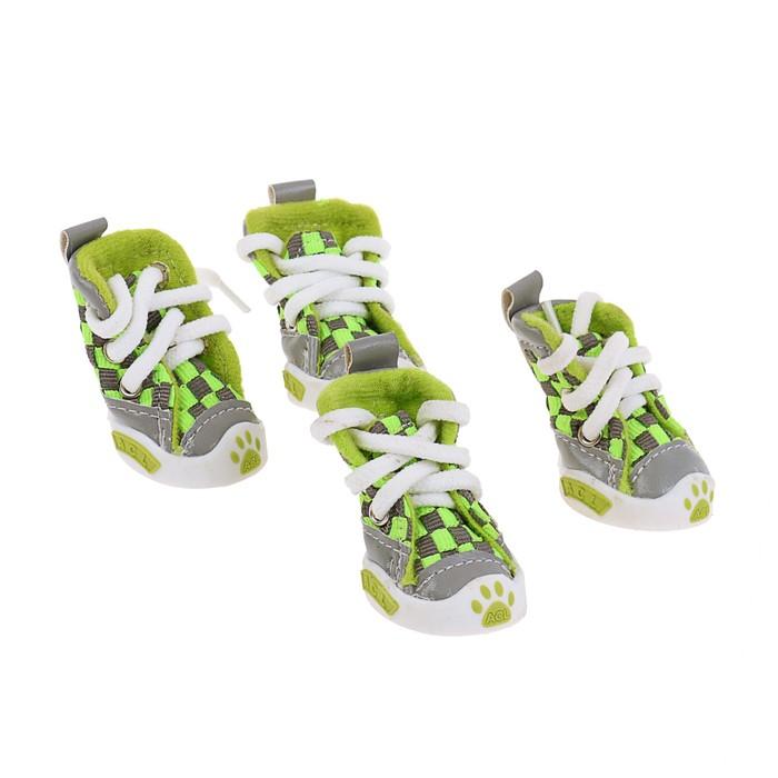 """Кеды для собак """"Неон"""", набор 4 шт, размер 1, серо-зеленые"""