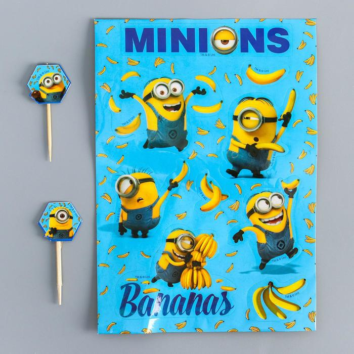 "Шпажки ""Bananas!"", Гадкий Я, (набор 12 штук) + наклейки"
