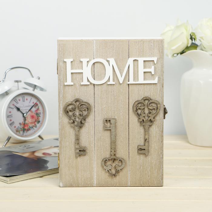 "Ключница дерево 4 крючка ""Ажурные ключи. Home"" 24х17х4,3 см"