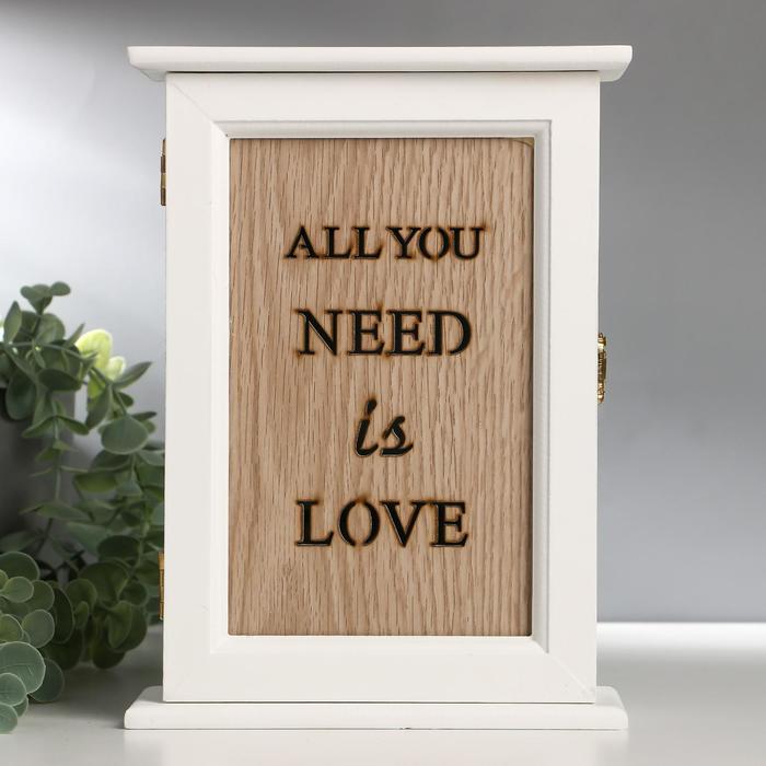 "Ключница дерево 6 крючков ""All you need is love"" 24,5х18х7 см"