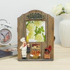 Housekeeper wood 6 hooks with photo frame 10x11.5 cm