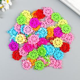 """Декор для творчества пластик """"Цветочки"""" цветные набор 50 шт 2,7х2,2 см"""