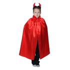 Карнавальный  плащ с красный с воротником,ободок рожки, атлас,длина 85см