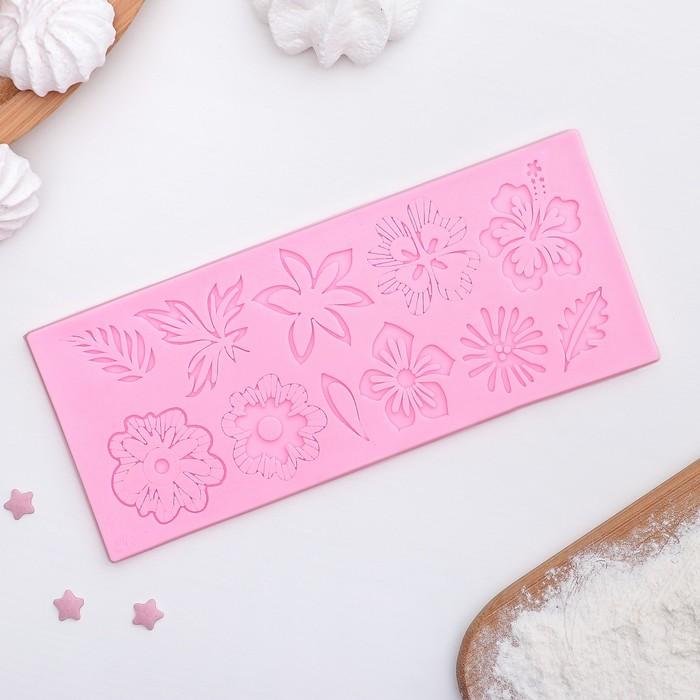 """Коврик для айсинга 18×7,2 см """"Флористика"""", цвет розовый"""