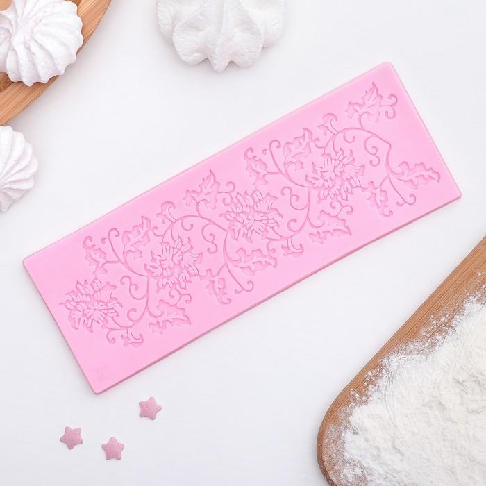 """Коврик для айсинга 16×6 см """"Лоза"""", цвет розовый"""