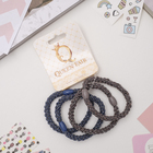 "Elastic band for hair ""Gin"" (price per piece) glitter, blue and grey"