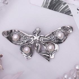 Брошь 'Жемчуг речной' фея, цвет белый в серебре 10038-103 Ош