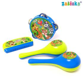 "A set of musical instruments ""Funny zoo"": tambourine, 2 maracas, harmonica"