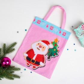 Сумочка «Новогодняя», Дед Мороз и ёлочка, размер 24×29 см