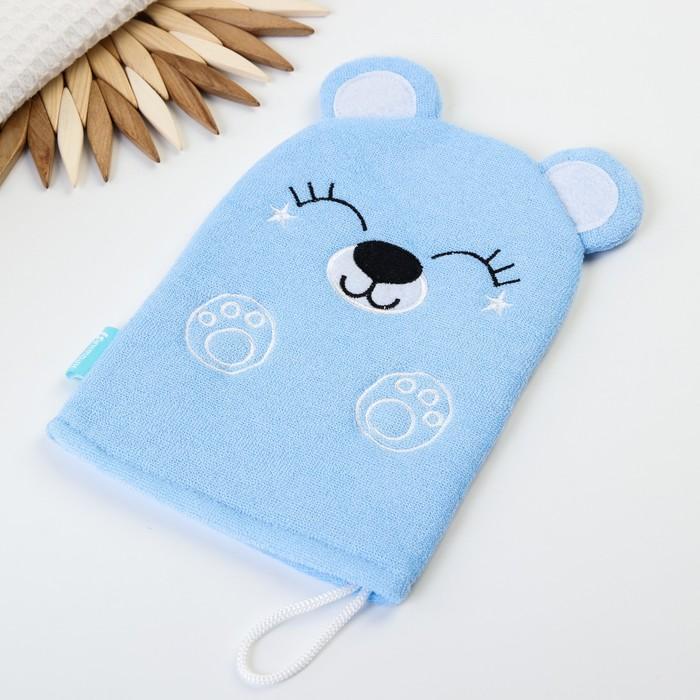Мочалка детская для купания «Мишка», варежка, из махры - фото 798067486