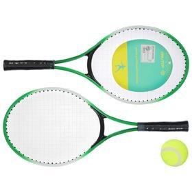 Ракетки для большого тенниса с мячом, детские, цвет зелёный
