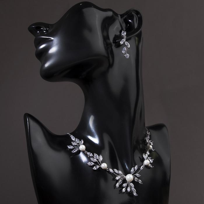"""Набор 2 предмета: серьги, колье """"Циркония"""" изумление, ветви, цвет белый в серебре, 45 см"""