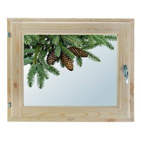Окно, 40х60см, Декор 3, двойной стеклопакет (хвоя) Добропаровъ Ош