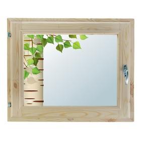 Окно, 40х60см, Декор 4, двойной стеклопакет (хвоя) Добропаровъ Ош