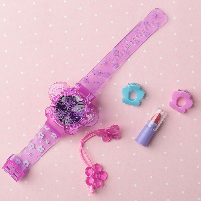 Набор косметики для девочки блеск д/губ,помада,резинка для волос,заколки для волос  2шт.