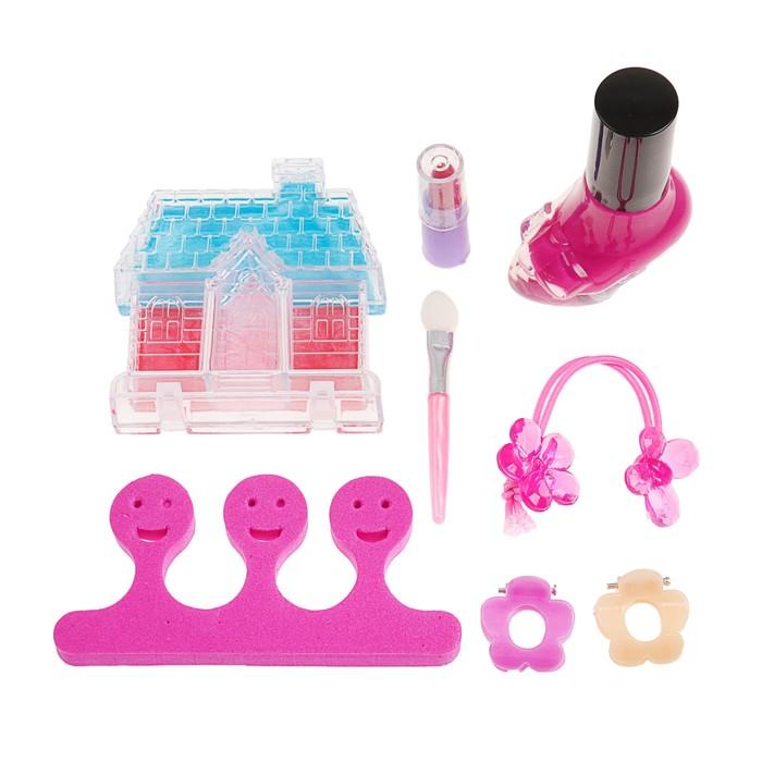 Набор косметики для девочки блеск д/губ,помада,резинка,лак МИКС,разделитель,аппликатор.