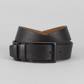 Men's belt, buckle is a dark metal, width 3.5 cm, color black