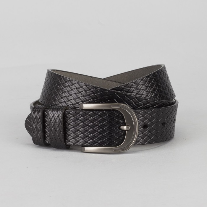 Ремень мужской, плетение, пряжка металл, ширина - 3,5 см, цвет чёрный