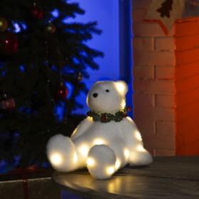 """Фигура световая """"Белый мишка"""", 22 LED, 16х20х17 см, фиксинг, от батар. (не в компл)"""