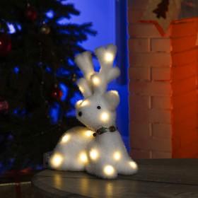 "Фигура световая ""Белый олень"", 25 LED, 20х25х12 см, фиксинг, от батар. (не в компл)"