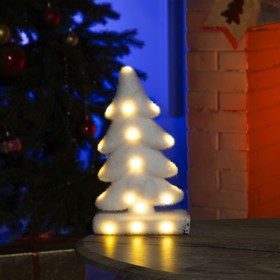 "Фигура световая ""Белая ёлочка"", 18 LED, 20х25х12 см, фиксинг, от батар. (не в компл)"