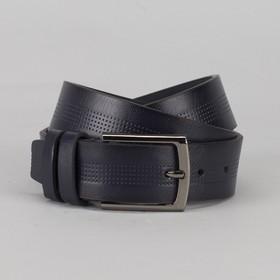Ремень мужской, пряжка металл, ширина - 4 см, цвет синий