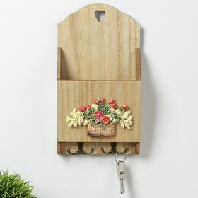 """Крючки декоративные дерево с полочкой """"Корзина с цветами"""" 30х16х5,8 см"""