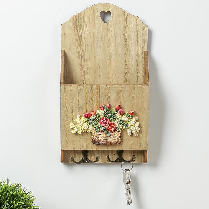 """Крючки декоративные дерево с полочкой """"Корзина с цветами"""" 30х16х5,8 см - фото 308330248"""
