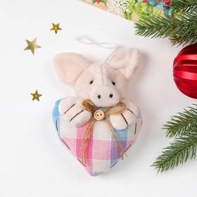 Мягкая игрушка-подвеска 'Хрюша' сердечко клетка, цвета МИКС Ош