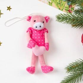 Мягкая игрушка 'Розовая хрюшка в лапках сердечко' цвета МИКС, 13 см Ош