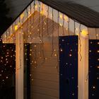 "Гирлянда ""Бахрома"" уличная, УМС, 3 х 0.9 м, 3W LED-232-220V, нить тёмная, свечение жёлтое"