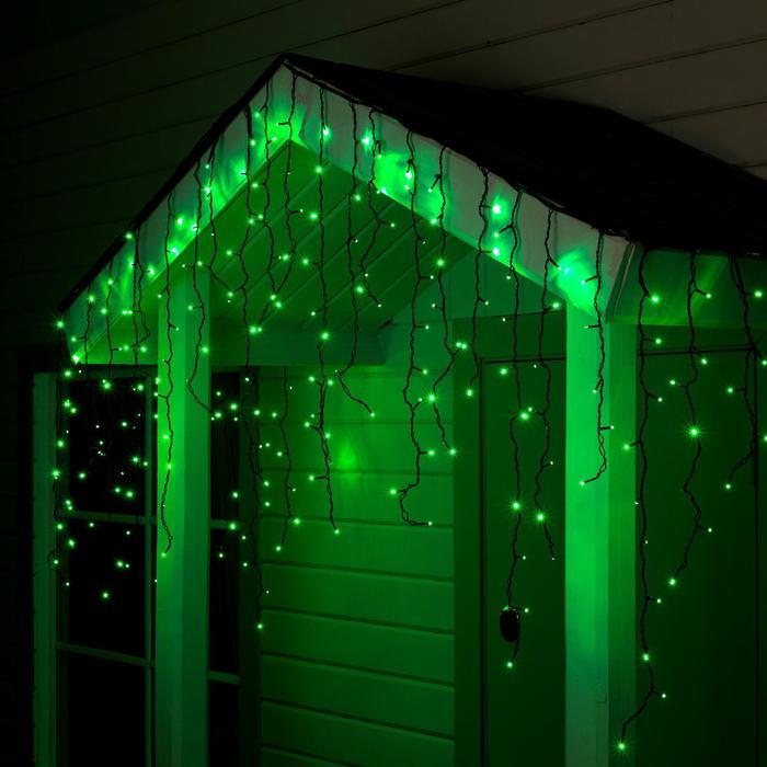 "Гирлянда ""Бахрома"" уличная, УМС, 3 х 0.9 м, 3W LED-232-220V, свечение зелёное"