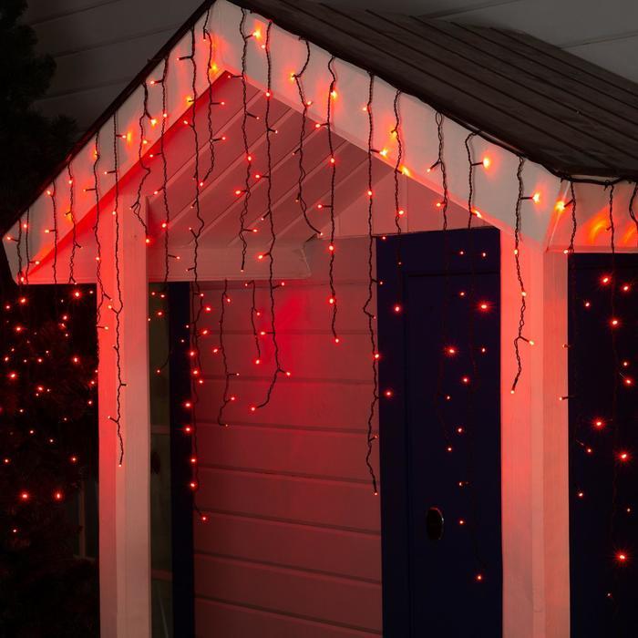 "Гирлянда ""Бахрома"" уличная, УМС, 3 х 0.9 м, 3W LED-232-220V, нить тёмная, свечение красное - фото 685614837"