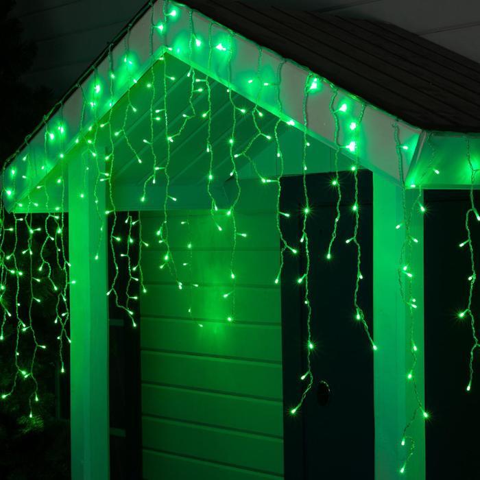 "Гирлянда ""Бахрома"" уличная, УМС, 3 х 0.9 м, 3W LED-232-220V, нить прозрачная, свечение зелёное - фото 687151364"