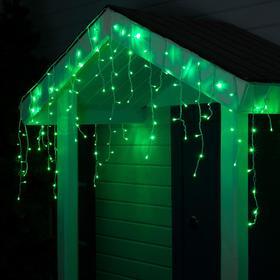"""Гирлянда """"Бахрома"""" 4 х 0.6 м , IP44, белая нить, 180 LED, свечение зелёное, 8 режимов, 220 В"""