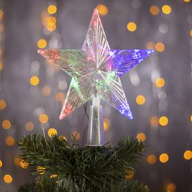 """Фигура """"Звезда прозрачная ёлочная"""" 15х15 см, пластик, 10 LED, 2 м провод, 240V RG/RB"""