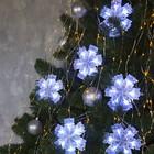 """Гирлянда """"Нить"""" с насадками """"Снежинка матовая"""" 12х12 см, 2 м, LED-36-220V, нить прозрачная, свечение белое"""