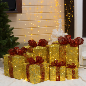 "Фигура ткан. ""Подарки золотые с красной лентой"" 15х20х25х30х35х40 см, 250 LED, 220 В, 8 р.,"