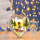 """Фигура деревянная """"Сердце Снеговик"""", 19х19х3.5 см, 2*AA (не в компл.) 5 LED, белое"""
