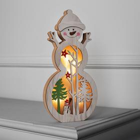 """Фигура дерев. """"Снеговик в шапочке"""", 29х15х2.5 см, AA*2 (не в компл.), 5 LED, Т/БЕЛЫЙ"""